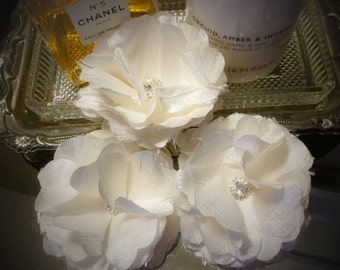 Hand Made Ivory Silk and Rhinestone Flowers - Wedding Bouquet flowers - Home Decor Accent - Set of 3 flowers