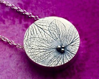 Small Hydrangea petal silver necklace