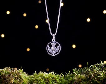 Sterling Silver Scottish Thistle - Small, Double Sided - (Charm Only or Necklace)