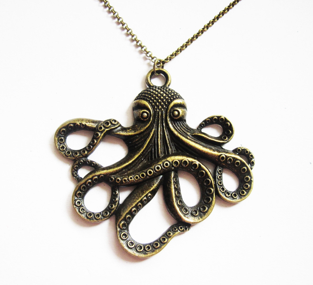 Octopus necklace brass octopus necklace octopus jewelry zoom mozeypictures Choice Image