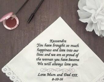Personalised Handkerchief; OWN WORD: Embroidered wedding handkerchief; personalised wedding gift; bridal keepsake; lace handkerchief;