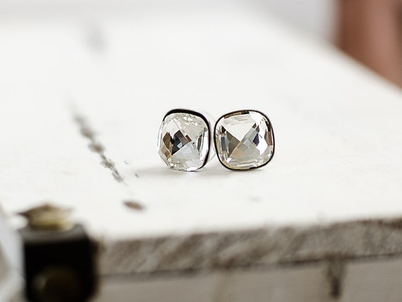 Cushion Earrings   Clear Crystal Stud Earrings   Cushion Crystal Earrings   Square Swarovski Crystal Stud Earrings   Faceted Jewel Earrings