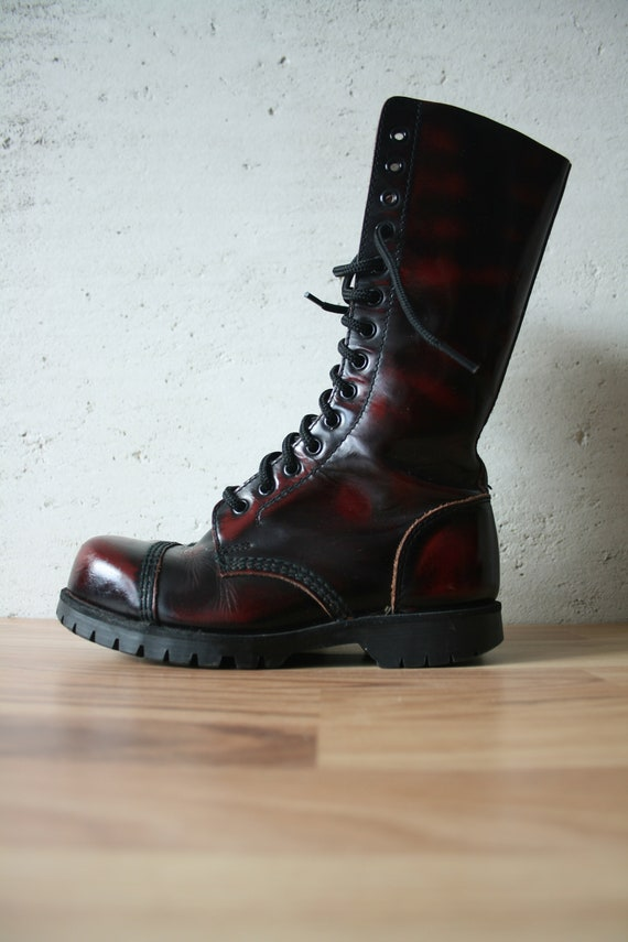 boots Goth army Brittish steel leather 14 eyelet women's black Genuine boots cap style Ranger boots Vintage red England boots UNDERGROUND q7TxwFOt