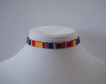 Striped Rainbow choker necklace