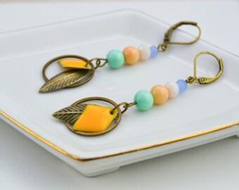 Boucles d'oreille longues - sequins émaillés - boucles d'oreille pendantes - colorées - bijoux estivales - printemps - boho