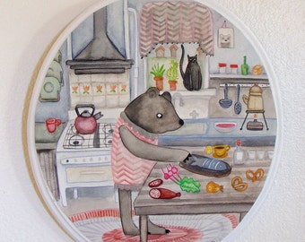 The Bear's Kitchen - original watercolor