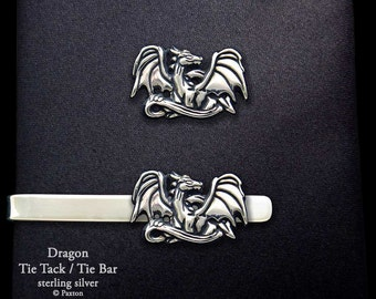 Dragon Tie Tack or Dragon Tie Bar / Tie Clip Sterling Silver