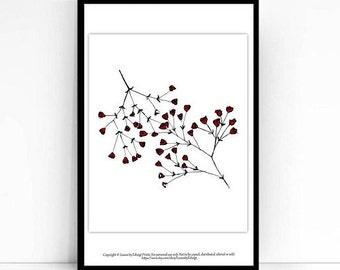 Marsala red babys breath Gypsophila -  8x10 inch art print - minimalist - mothers day gifts - home decor wall art - flowers - summer decor