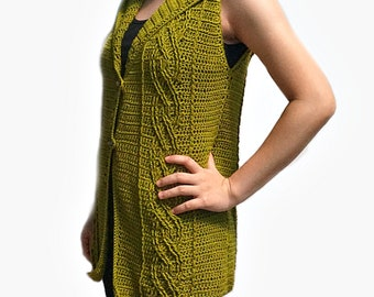 Crocheted Eternal cable hooded vest - free worldwide shipping