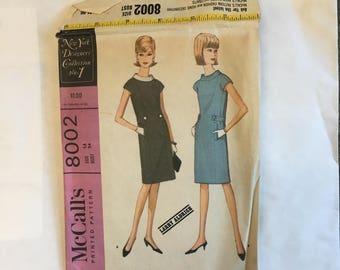 Vintage 1965 Larry Aldrich Design McCall's 8002 dress pattern circa 1965