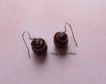 Dark Chocolate Dome Earrings Miniature Food Polymer Clay Charms Cute Fimo Charms