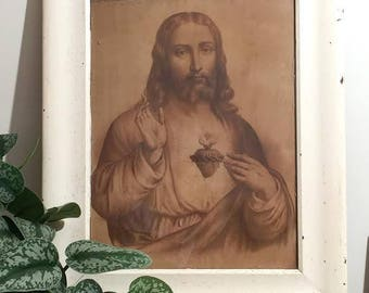 Vintage Sepia Jesus with Sacred Heart in original frame