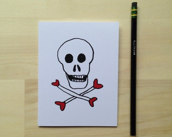 Skull and Crosshearts Card