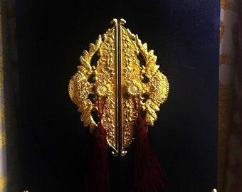Japanese Buddhist Black Gold Wooden BUtsudan Altar Bell Amida Nichiren Gohonzon