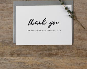 Thank you for Capturing our Wedding - Card for Wedding Photographer - Wedding Card, Wedding Thank You Cards, Wedding Photographer Card, K8