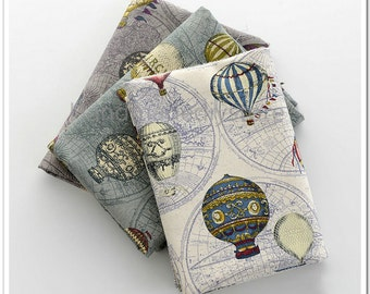 Hot air balloon fabric etsy more colors antique map balloon fabric gumiabroncs Gallery
