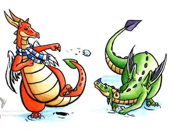 Snowball fight A6 fantasy dragon christmas card