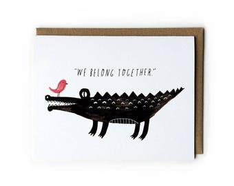 Cute Crocodile Greeting Card, Alligator Illustration Greeting Card, Wedding Gift Idea, Anniversary Gift for Her, Cute Wedding Card, Friends