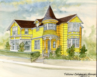 Giclee Print of Original Watercolor Painting with Pen & Ink Detail of Yellow Colonial House