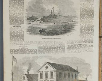 Neck Lighthouse, at Marblehead from 1854. Town House, Marblehead Mass.  Large Antique Engraving, About 11x15