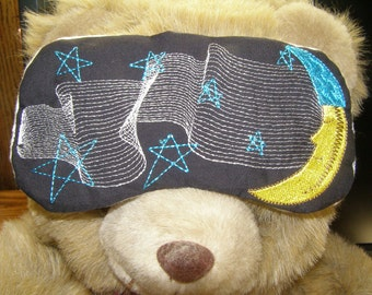 Embroidered Eye Mask, Sleeping, Cute Sleep Mask for Kids or Adults, Sleep Blindfold, Slumber Mask, Music, Moon Design, Eye Shade, Handmade