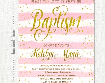 baptism invitation girl, pink gold glitter baptism invitation, spanish bautizo invitation, lds baptism invitation girl, digital printable
