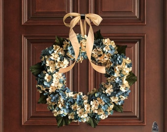 Blue Blended Hydrangea Wreath | Spring Wreaths | Front Door Wreaths | Aqua Blue and Cream Hydrangeas | Lake House Decor | Beach House Decor