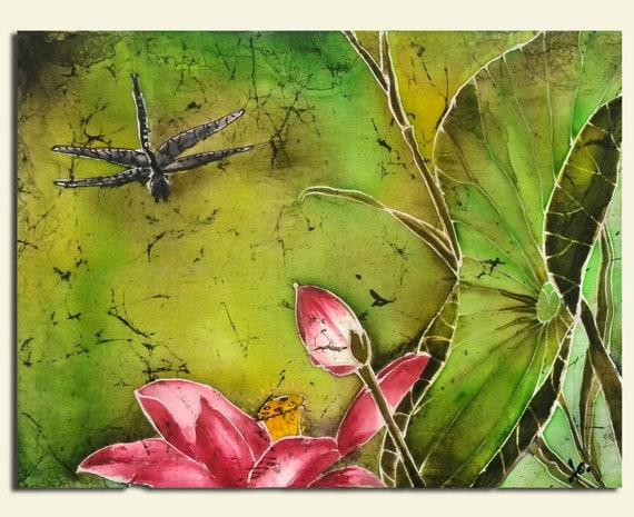 Lotus original painting batik wall hanging batik art silk