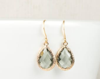 Charcoal Quartz and Gold Framed Teardrop Earrings, Charcoal Gold Dangle Earrings, Gold Earrings, Gray Earrings, Bridesmaid Jewelry