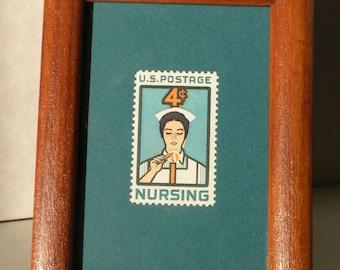 Framed stamp, Nursing, 4 cent vintage U.S. postage 1961, graduation gift, thank you gift, appreciation gift, nurse collectible