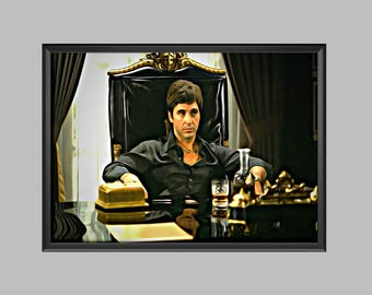 Scarface Tony Montana Poster Digital Artwork Picture Print A4 - A3 - A2 - A1