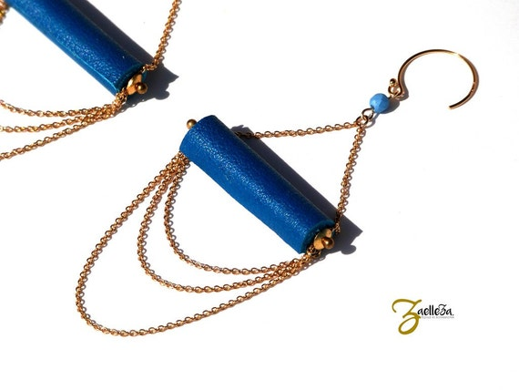 """Earrings Pearl blue leather duck, multi strand chain gold 14K - glamorous Boho Chic - model ACAPULCO """"Mexico Collection"""""""