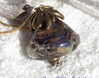 """""""lampwork"""" Lampwork bead pendant 5"""