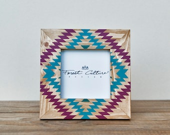 4x4 Picture Frame   Painted Photo Frame   Geo Tribal