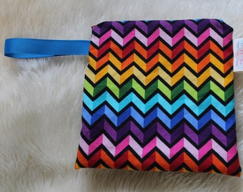Rainbow Chevron Snack Bag - Reusable Snack Pack - Eco Lunch - Back to School - Waterproof Bag  -  Ready to Ship