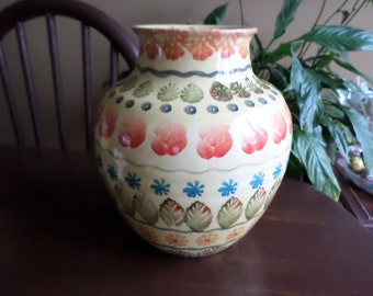 Italica Ars-Italian Pottery Vase/ Jar-Bright Yellow Orange Blue Green Florals
