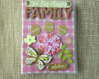 Beautifully Decorated Photo Album Cover - One Big Happy Family