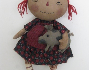Primitive Raggedy with Pig