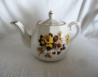 Vintage Ellgreave Teapot Genuine Ironstone English Porcelain Floral Bouquet Motiff