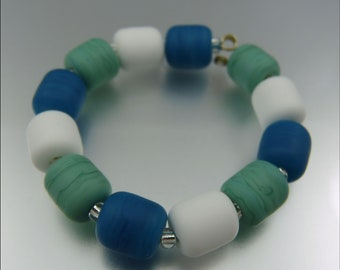 SEAFOAM FROST - Made to Order - Lampwork Spacer Combo Bead Set - Handmade by Stephanie Gough sra Lampwork Beads