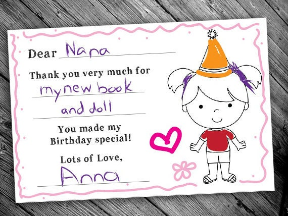 Printable Birthday Thank You Cards For Girls Color Your Own