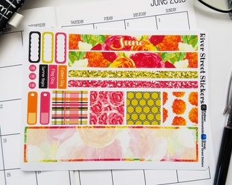 JUNE 2018 Summer Floral B6 SMC- Sew Much Crafting Travelers Notebook Monthly Planner Sticker Kit
