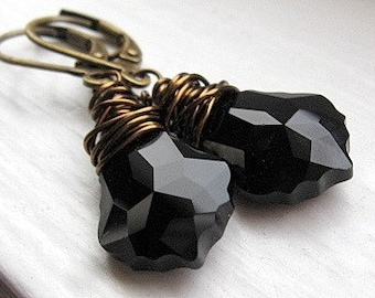 Jet Black Crystal Earrings, Simple Black Earrings, Baroque Earrings, Swarovski Crystal Earrings, Antiqued Brass Wire Wrapped