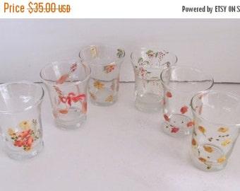 SALE Mid Century Hand Painted Juice Glasses Set of 6 Mad Men Glasses Midcentury Glassware