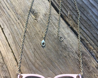 Pink Cats Eye Glasses Pendant Necklace