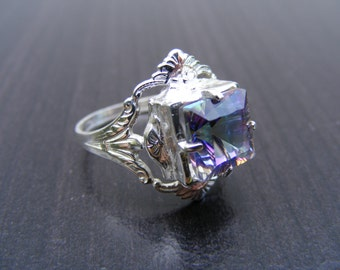 S239 Made to Order... Sterling Silver Antique Style Filgree Ring with 3 carat Blue Mystic Topaz Gemstone
