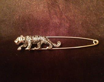 Vintage Tiger Brooch Pin,Scarf Pin, Shawl Pin, Kilt Pin, Safety Pin