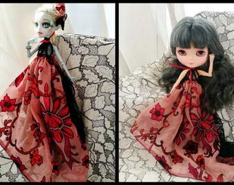 Monster high ever after high EAH Blythe 1/6 scale doll Clothes Pink Red Dress Vintage Pure Silk Dress Hi-low Gown with OOAK