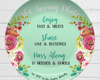 Giving Plate | Personalized Plate | Flowers Design