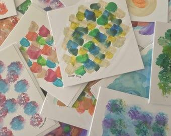 Pack of 4 or 8, bespoke, handmade cards - each a mini artwork